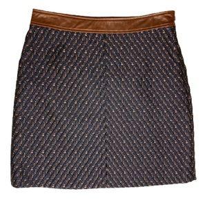 Theory Heighten Tweed Lanitta Leather Trim Skirt